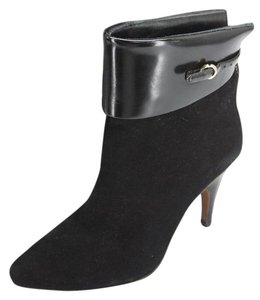 Derek Lam Cuff Mixed Media Strappy High Heels Black Boots