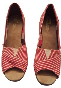 TOMS Canvas Red & White Nautical Pinstripe Wedges