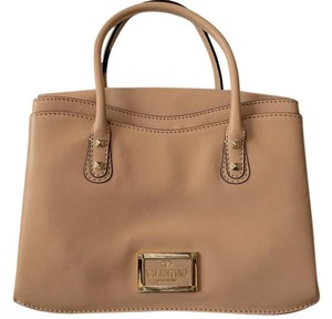 Valentino Studded Leather Satchel in Sand
