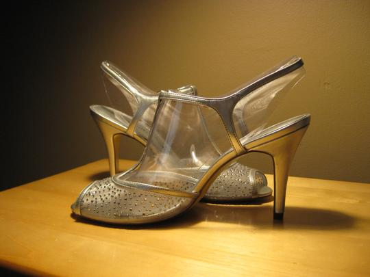 Adrianna Papell Silver Mesh with Stones Formal