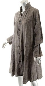 Eskandar Tweed Duster Linen Taupe & Black Jacket