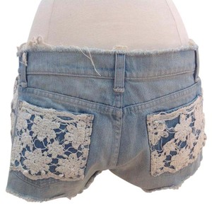 Car Mar Womens White Cut Off Shorts Light Denim