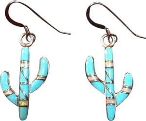 0 Degrees Sterling Silver, Turquoise, Opal Hook Earrings