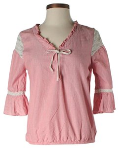 Free People Tie Ruffle Top Pink