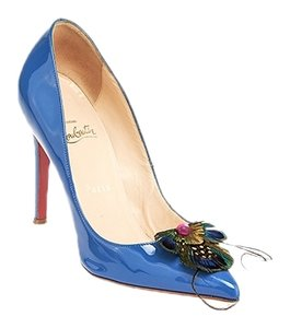 Christian Louboutin Leather Patent Leather Blue Pumps