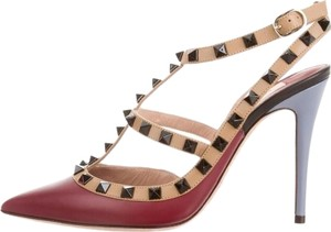 Valentino Rockstud Red Burgundy Multicolor Rockstud Burgundy Multi Pumps