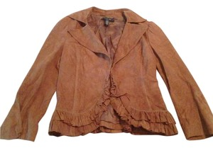 Laundry by Shelli Segal Leather Ruffle Soft Brown Blazer