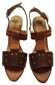 John Fluevog Studded Patent Leather Tan & Brown Sandals