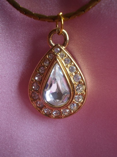 Other Like new Vintage Simulated Diamond Teardrop Crystal Pendant Necklace