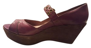 Nicole Leather Platform Plum Wedges
