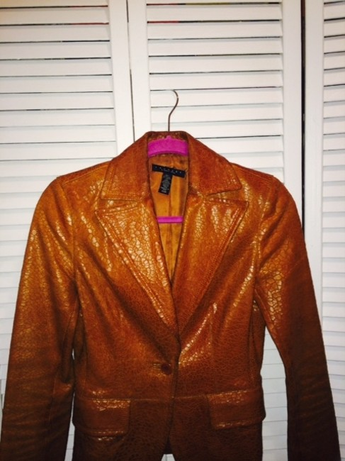 Laundry by Shelli Segal Textrued Brown Leather Jacket