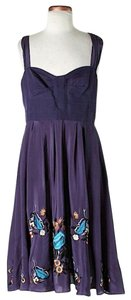 French Connection short dress Purple Silk Embroidered on Tradesy