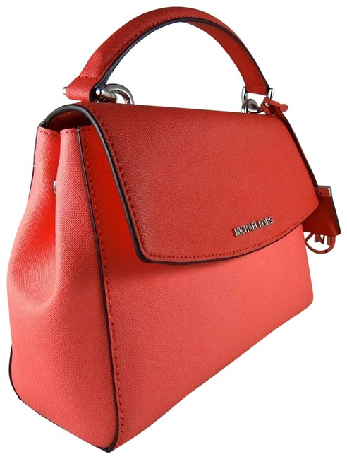 Item - Womens Ava Colorblock Small Top Handle Coral / Watermelon Saffiano Leather Satchel