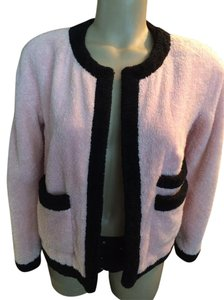 Chanel Vintage Silk Terry Cloth Rare Pink/Black Jacket