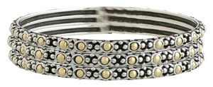John Hardy NEW John Hardy Magnificent Jaisalmer 18K Gold & Silver Slim Bangle Set of 3 Bracelets, Size M/L