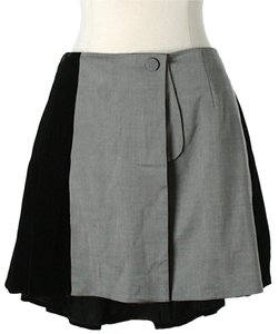 Alexander Wang Color-blocking Wool Velvet Mini Skirt Grey & Black