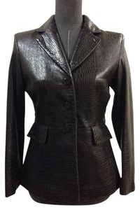 Elie Tahari Size 2 Leather Brown Blazer