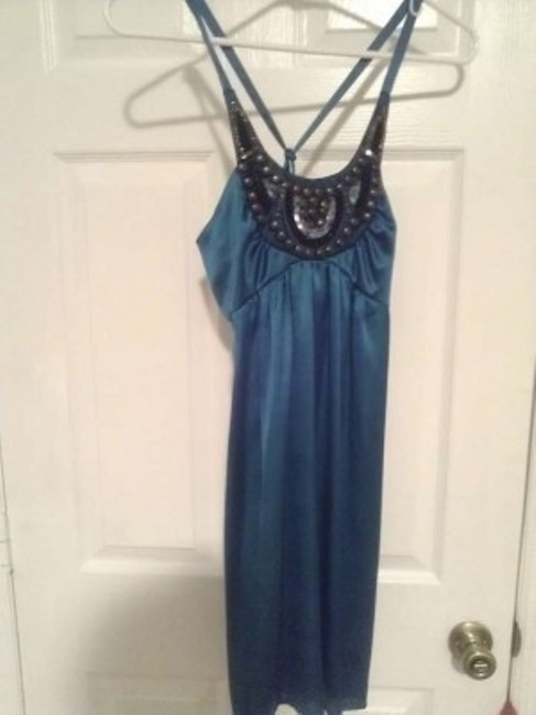 Charlotte Russe short dress turquoise, black, silver, and copper on Tradesy