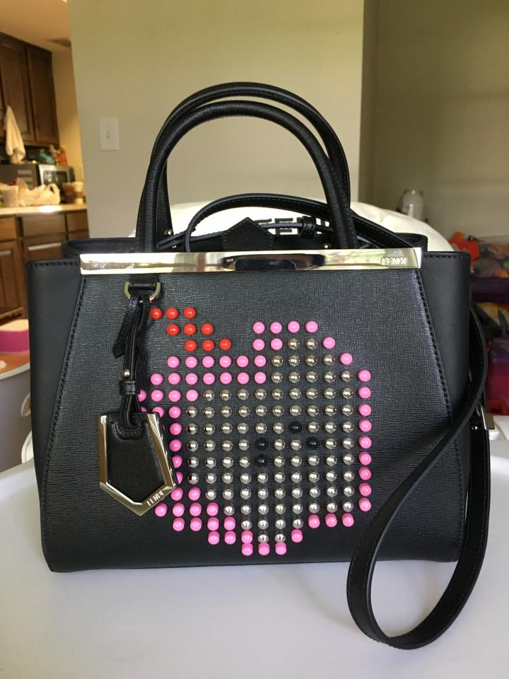 a988d3a0f8f4 Fendi Petite 2jours Apple Black Leather Tote 35% off retail