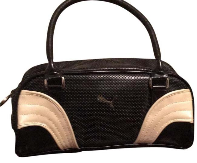 Item - Acnjj Black with White and Gold Detail Polyurethane Clutch