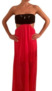 Black/bright Reddish Orange Maxi Dress by Reverse