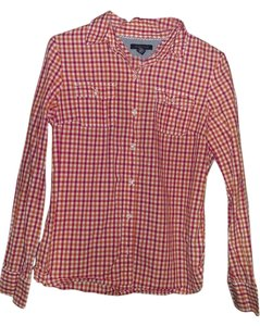 Tommy Hilfiger Button Down Shirt Pink and Orange check
