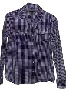 Tommy Hilfiger Size 8 Long Sleeve Button Down Shirt Blue and White check
