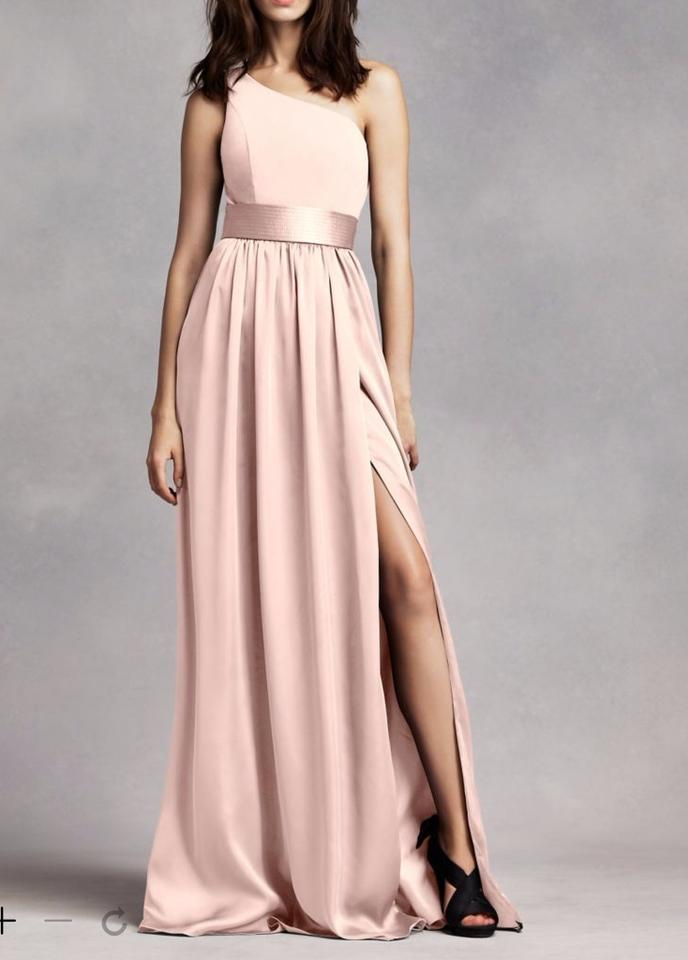 White by Vera Wang Blush Soft Charmeuse One Shoulder Gown with Sash ...