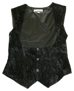 Contempo Casuals Vest Crushed Velvet Top Black