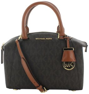 Michael Kors Small Riley Signature Logo / Gold Satchel in Brown