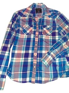 American Eagle Outfitters Flannel Button Down Shirt Blue, Green, Peach and White