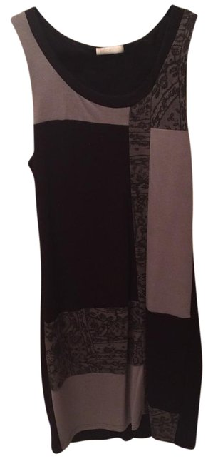 Item - Black Grey Above Knee Night Out Dress Size 6 (S)