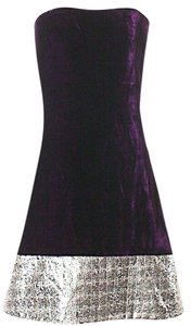 Badgley Mischka Velvet Strapless Metallic Dress