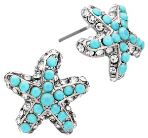 Modern Edge Turquoise Starfish Stud Earrings