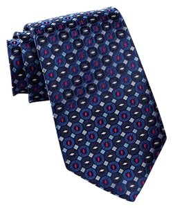 Ike Behar Ike Behar Neat Two Silk Tie Navy