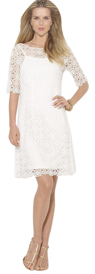 mid length white lace dress ralph lauren white crochet lace elbow sleeve sheath small 2472