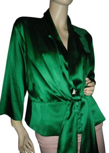 fashionista Top emerald green silk