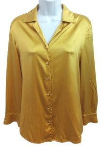 St. John Gold Silk Blouse Button Down Shirt