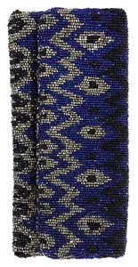 Moyna Blue Silver Black Beaded Clutch