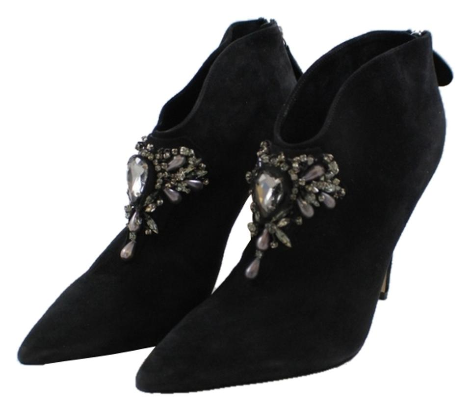 Paul Andrew Black Suede Jewel Embellished Suede Black Boots/Booties e291c5
