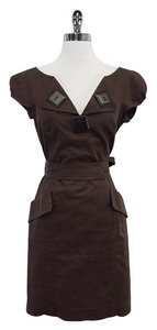MILLY short dress Brown Cotton Sleeveless on Tradesy
