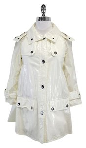 Burberry White Hooded Rain Raincoat