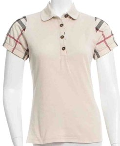 Burberry Nova Check Plaid Short Sleeve T Shirt Ivory, Black, Beige