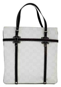 Loewe White Silver Print Brown Leather Tote