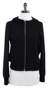 Helmut Lang Black Wool Suede Hooded Jacket