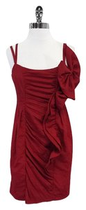 Nanette Lepore short dress Red Gathered Spaghetti Strap on Tradesy