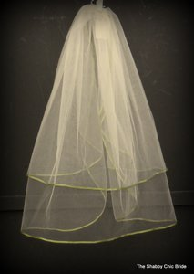 Sage Green Ribbon Edged Ivory Veil