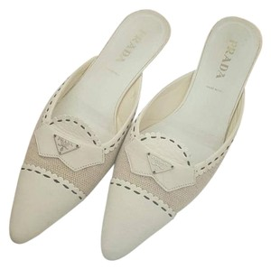 Prada Leather Woven Pointy Toe Ivory Mules