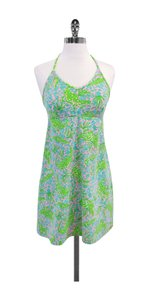 Lilly Pulitzer short dress Pink Blue Green Alligator Print Halter on Tradesy