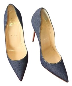 Christian Louboutin Denim So Kate 120 Blue/White Pumps